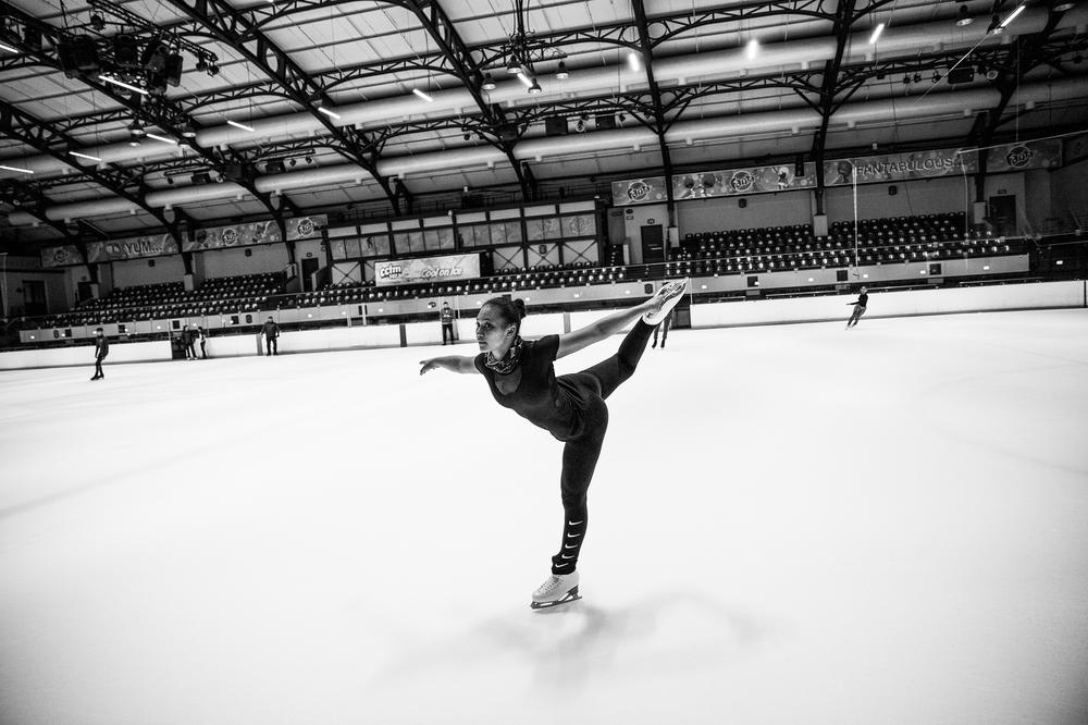 Figure skater Gian-Quen Isaacs practices at a rink in Cape Town, South Africa.
