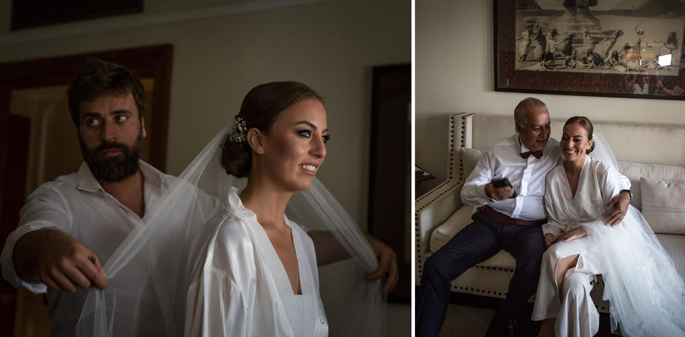 Left photo: With the help of a hairdresser, Harazy gets ready for the wedding in her dressing room. Right: Harazy's father, Nabil, hugs his daughter before the ceremony.