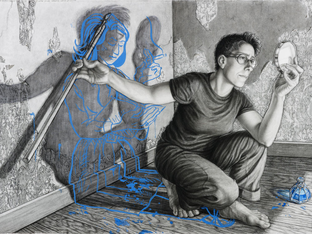 Riva Lehrer's 2010 charcoal mixed-media collage portrait of Alison Bechdel, author of the <em>Dykes to Watch Out For</em> comic strip and the memoirs <em>Fun Home </em>and <em>Are You My Mother?</em>