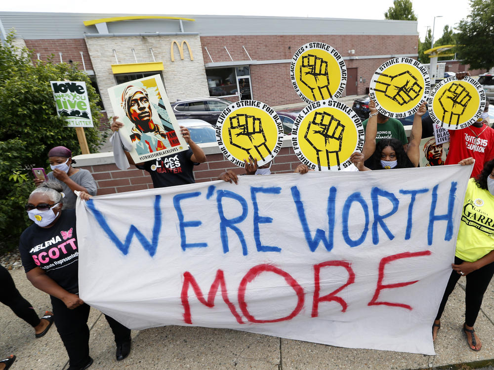 Protesters rally outside a McDonald's in Detroit on July 20. People walked off the job in several U.S. cities to protest systemic racism and economic inequality.