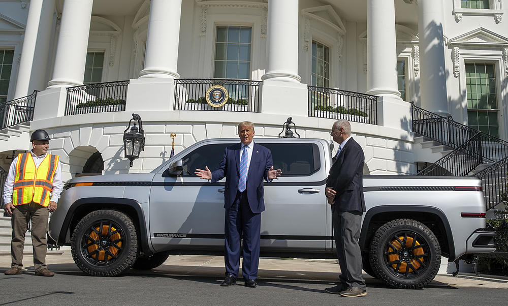 President Trump chats outside the White House last month with Lordstown Motors CEO Steve Burns about the Endurance all-electric pickup truck.