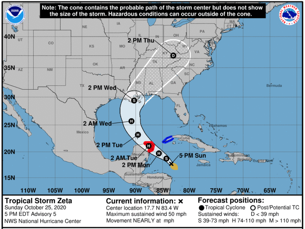 Tropical Storm Zeta is poised to develop into a hurricane and make landfall in the Gulf Coast by Wednesday afternoon.