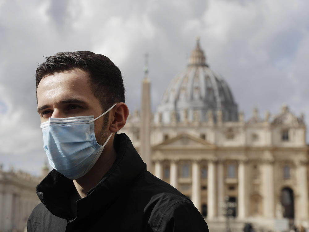Whistleblower Kamil Jarzembowski meets journalists outside St. Peter's Square at the Vatican on Oct. 14. He reported the abuse to Roman Catholic Church authorities in 2012. In 2017, he went public.