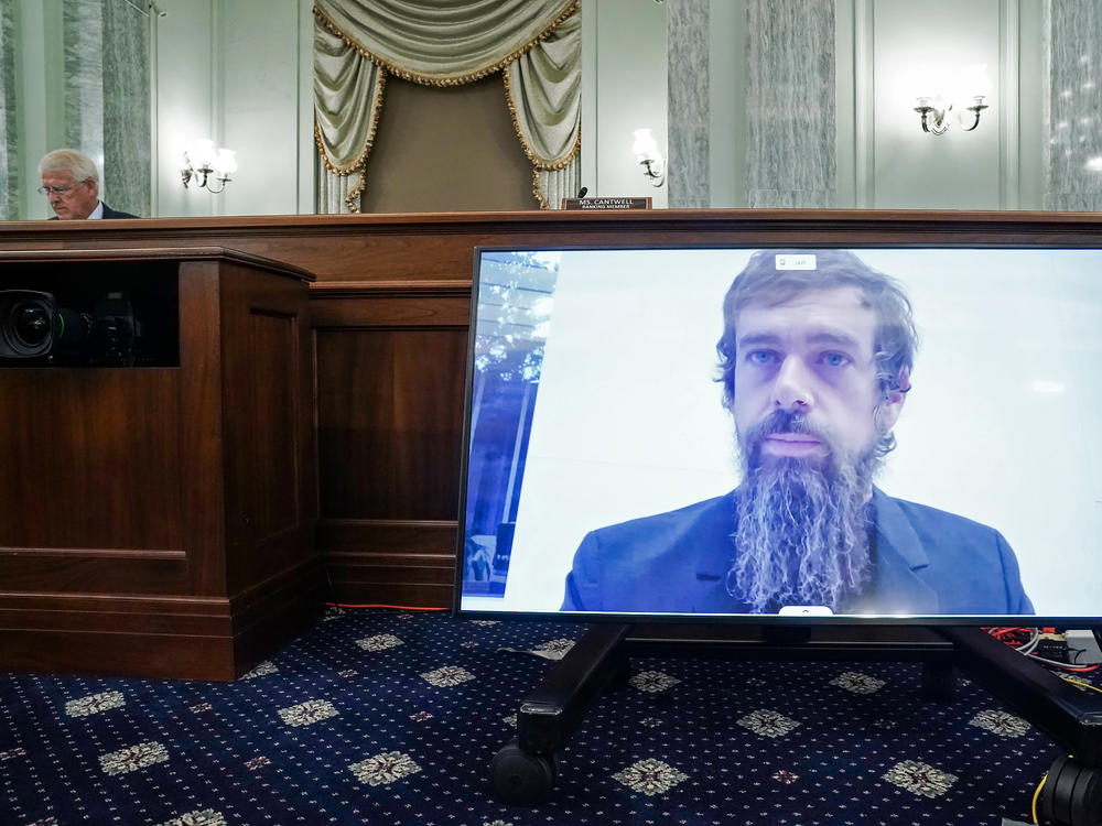 Twitter CEO Jack Dorsey testifies remotely during a Senate Commerce Committee hearing Wednesday about reforms to Section 230, a key legal shield for tech companies.