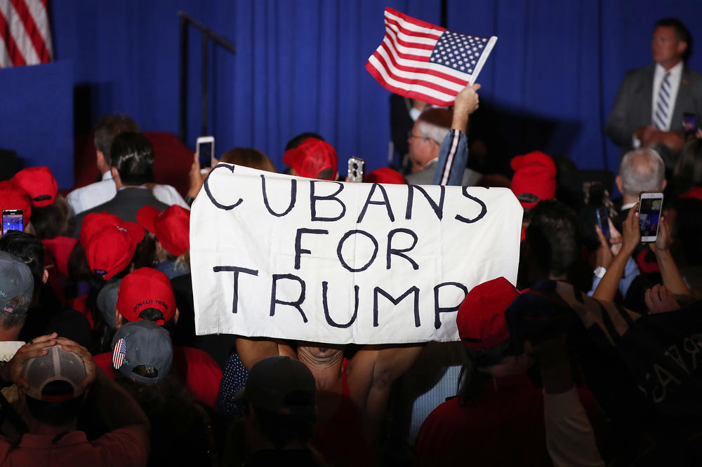 People attend a rally for Vice President Pence as he speaks during the Donald J. Trump for President Latino Coalition Rollout on June 25, 2019 in Miami, Fla. President Trump's reelection campaign has aggressively courted Latino voters in Florida for years, particularly conservative Cuban Americans.