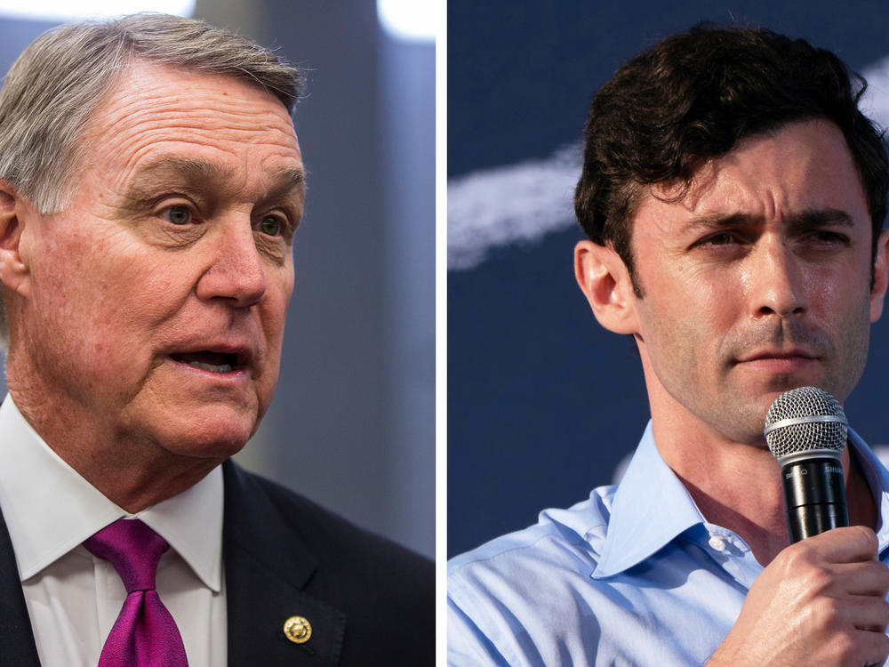 Left: Republican Sen. David Perdue of Georgia speaks to reporters in 2019. Right: Democratic U.S. Senate candidate Jon Ossoff speaks at a rally at Morehouse College on Oct. 23, in Atlanta.