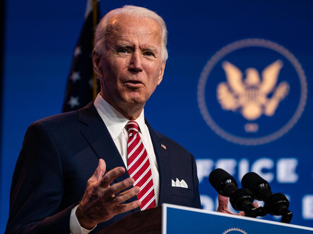 President-elect Joe Biden delivers remarks Monday in Wilmington, Del.