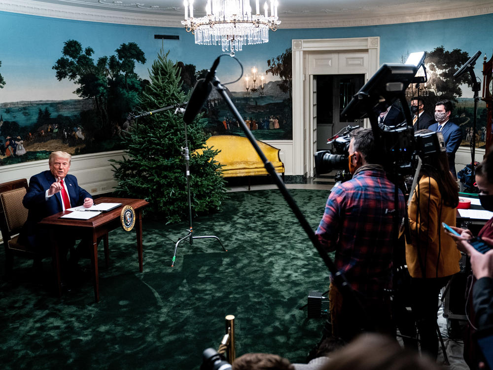 President Trump took questions in the Diplomatic Room of the White House on Thanksgiving after speaking to troops stationed abroad.