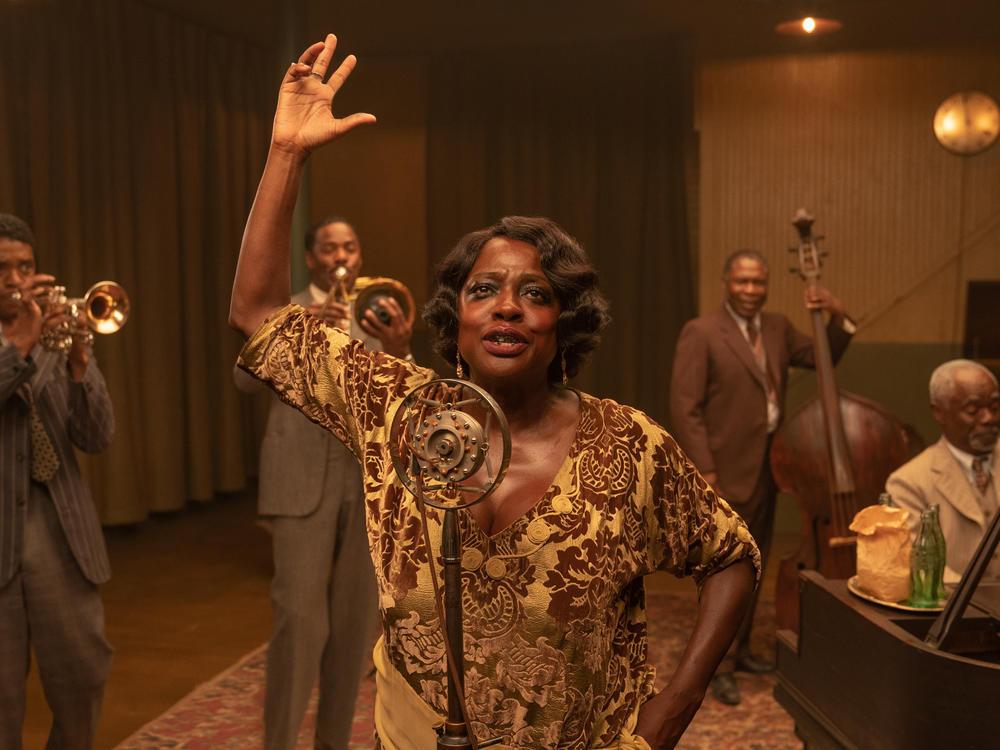Chadwick Boseman as Levee, Colman Domingo as Cutler, Viola Davis as Ma Rainey, Michael Potts as Slow Drag and Glynn Turman as Toledo in <em>Ma Rainey's Black Bottom.</em>