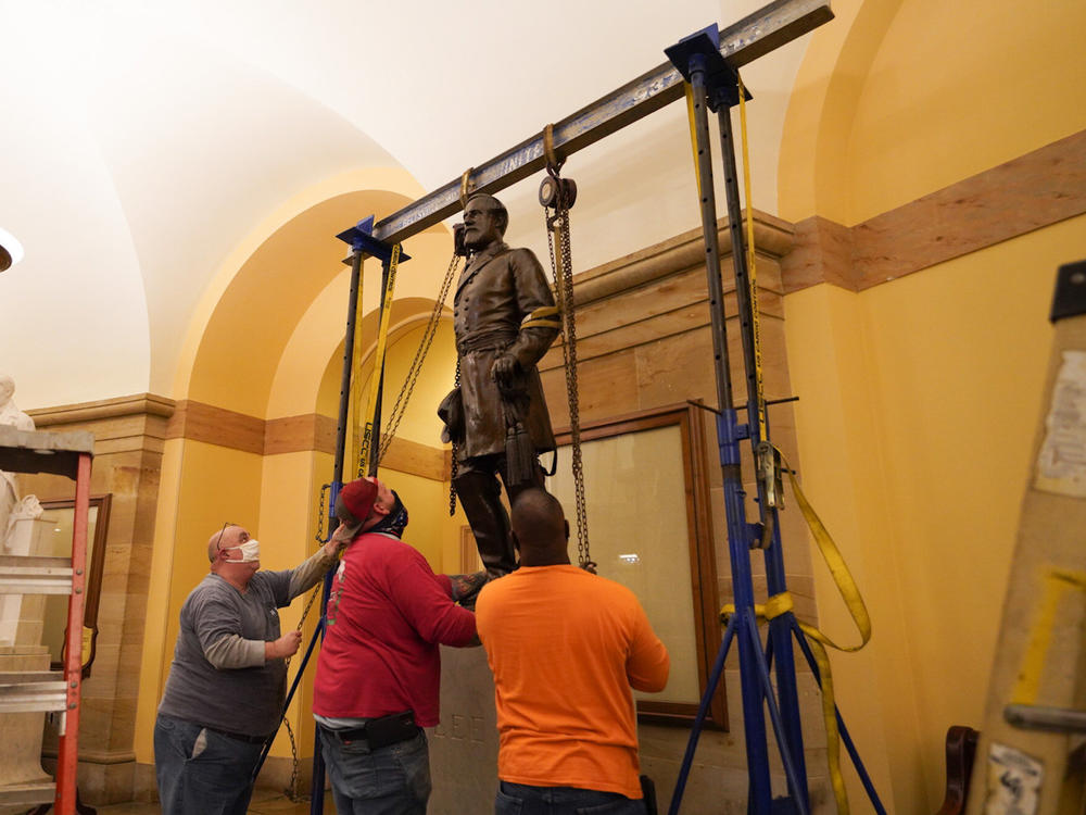 A statue of Robert E. Lee was removed from the U.S. Capitol early Monday.