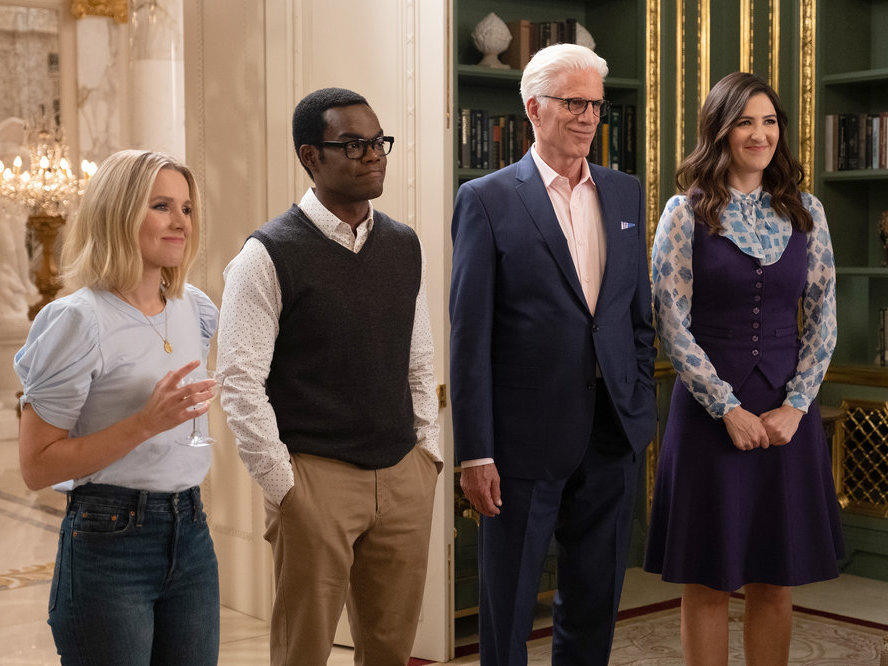 Kristen Bell, William Jackson Harper, Ted Danson and D'Arcy Carden in NBC's afterlife comedy series <em>The Good Place, </em>which ended after four seasons.