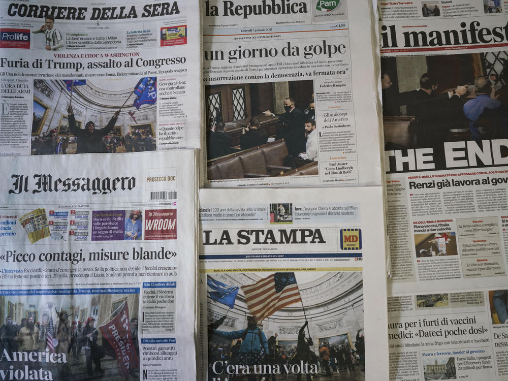 Italian papers show the chaotic scenes from Washington, with one headline declaring
