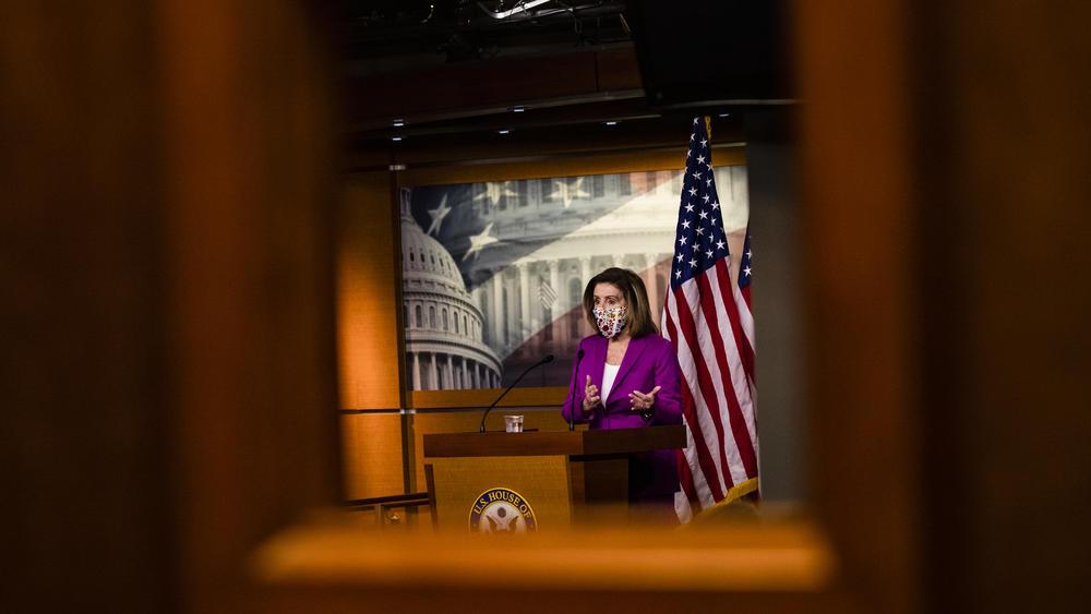 House Speaker Nancy Pelosi calls for Trump's removal from office on Thursday.