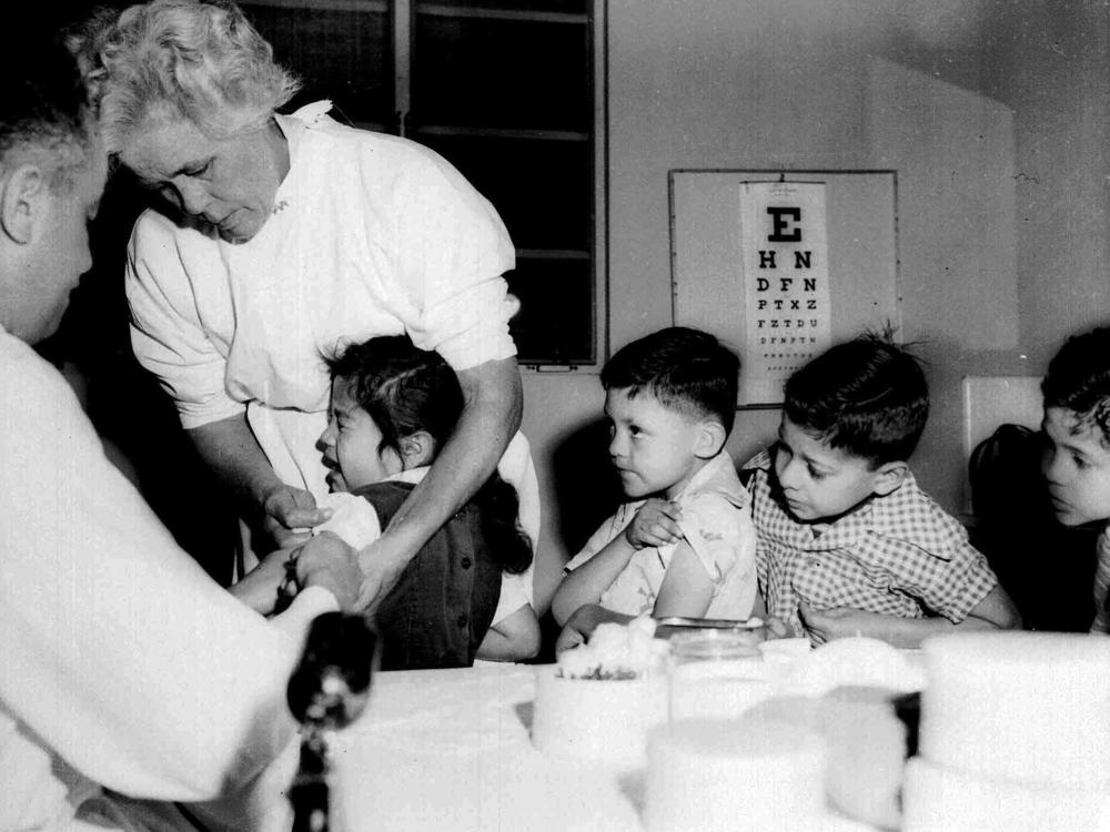 First and second graders at St. Vibiana's school in Los Angeles, Calif. were among the first inoculated against polio with the Salk vaccine in the spring of 1955.
