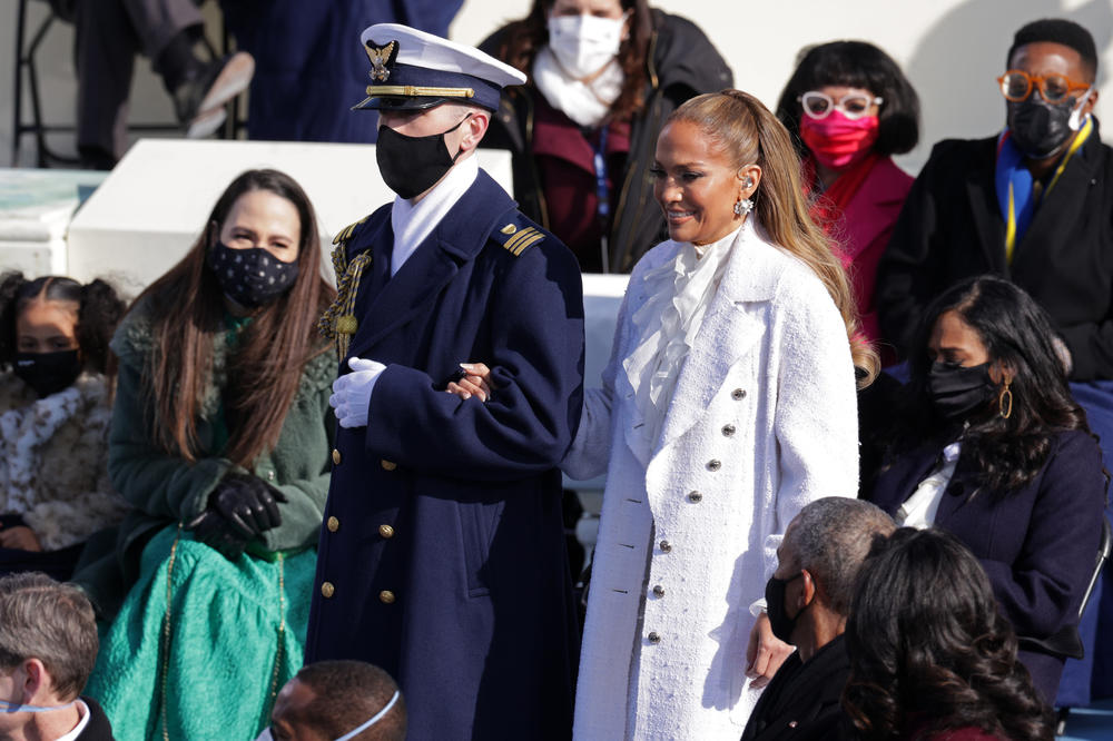 Jennifer Lopez is escorted to the inauguration.