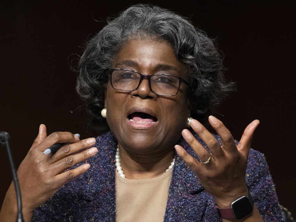 Linda Thomas-Greenfield appears before the Senate Foreign Relations Committee confirmation hearing on her nomination to be the United States ambassador to the United Nations, Wednesday.