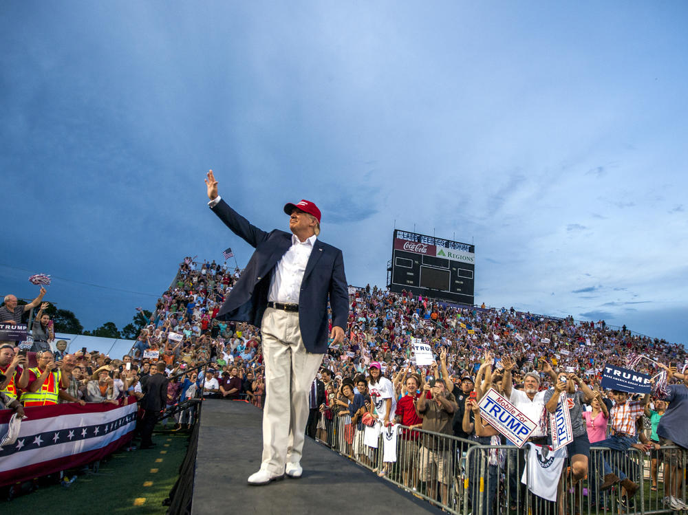 Then-candidate Donald Trump holds a campaign rally in Mobile, Ala., in August 2015.