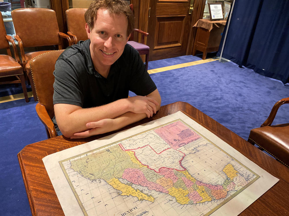 Kyle Ainsworth, project director of the Texas Runaway Slave Project, searches for notices about fugitive slaves in 19th-century Texas newspapers. His project is housed at the East Texas Research Center at Stephen F. Austin State University.