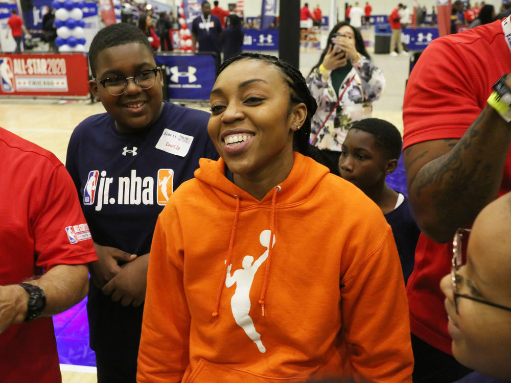 Renee Montgomery is now co-owner of the WNBA franchise Atlanta Dream, a team she used to play for. She's seen above at Jr. NBA Day in February 2020 in Chicago.
