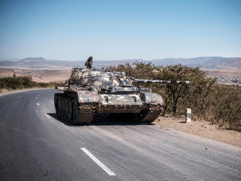 A damaged tank stands on a road north of Mekelle, the capital of Tigray, last month.