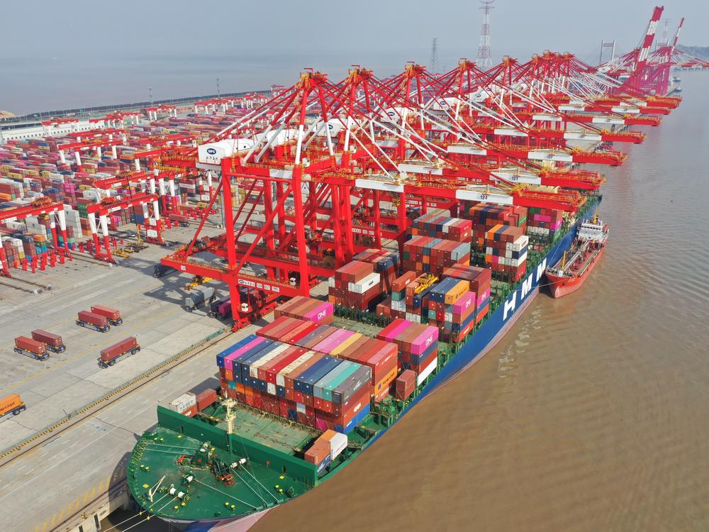 An aerial view of Yangshan Port in Shanghai in February. A prolonged shutdown of the Suez Canal could have disrupted supply chains across the globe.