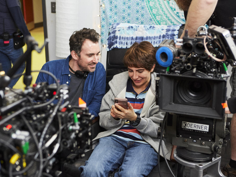 Showrunner Nasim Pedrad behind the scenes of <em>Chad</em> with director Rhys Thomas. Pedrad plays a teenage boy in the new TBS comedy.