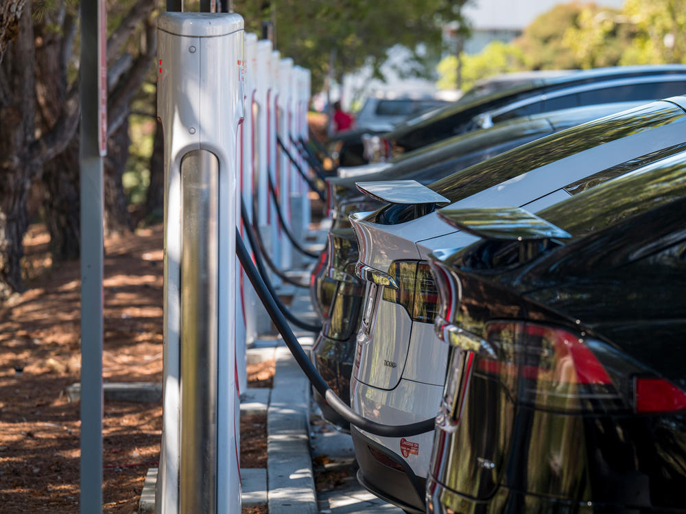Electric vehicles at a charging station last year in San Mateo, Calif. The governors of 12 states, including California, have called on President Biden to order that all cars and light trucks sold in the U.S. after 2035 be zero-emission vehicles.