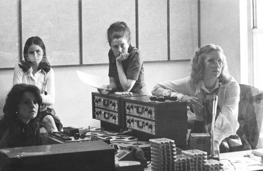 Renee Chaney, visitor Louisa Parker, Linda Wertheimer and Kris Mortensen, in the first <em>All Things Considered</em> studio, 1972.