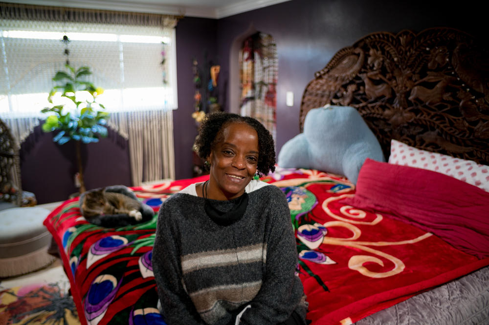 DonnaLee Norrington in her bedroom in Compton, Calif. Last summer, as she slept in a  rental studio apartment in South Los Angeles, she had a dream about owning a home for the first time. Norrington was 59 at the time.