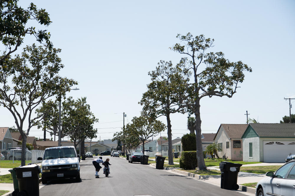 Kids play on a quiet street in Compton.
