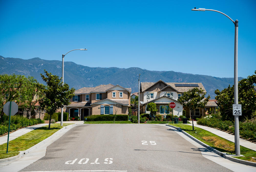 A neighborhood of Rancho Cucamonga, a city in the Inland Empire. As it became increasingly unaffordable to purchase property in Los Angeles County, like many others, Ross' relatives turned their gazes to the Inland Empire — a stretch of land that began about 50 miles east of LA. Not long before, it had been mostly desert, vineyards and factories.