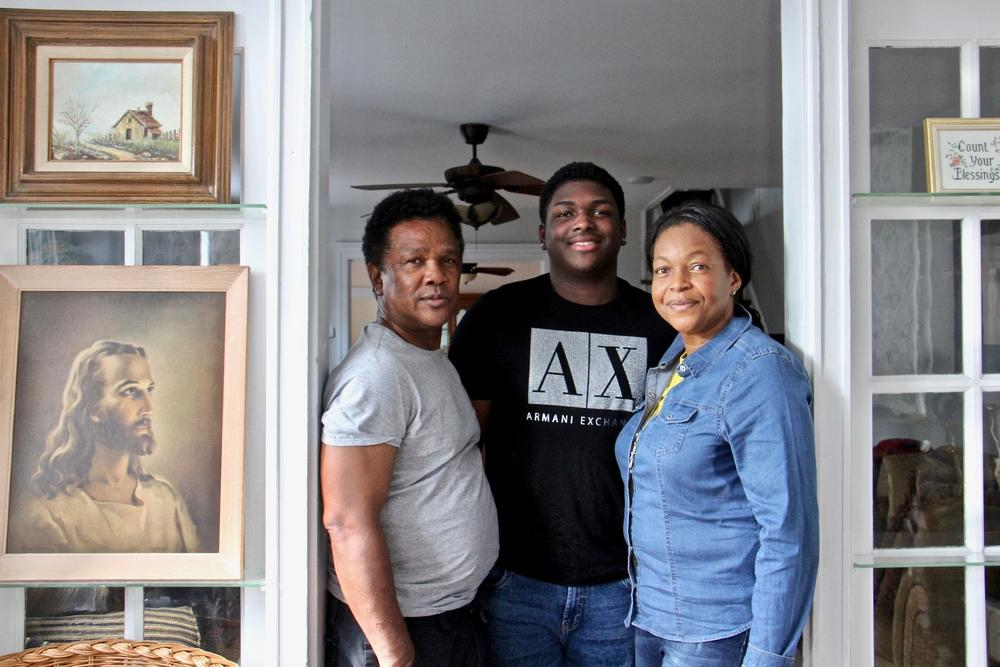 Clive and Oneita Thompson, with their son, Timothy, and daughter, Christine (not pictured), have moved into a home in Southwest Philadelphia after more than two years in sanctuary.