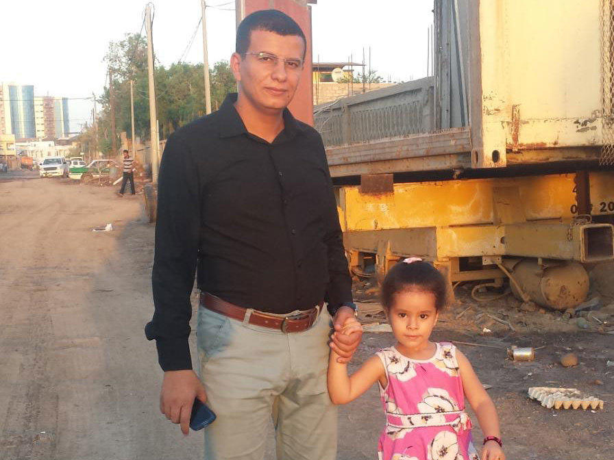 Hatem al-Showaiter with his daughter, then 3 1/2, in Djibouti. She is now 7 1/2.
