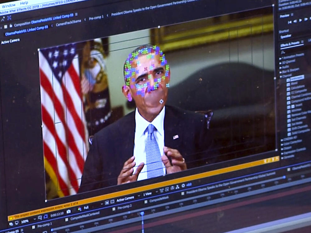This image made from video of a fake video featuring former President Barack Obama shows elements of facial mapping used for deepfakes that lets anyone make videos of real people appearing to say things they've never said.