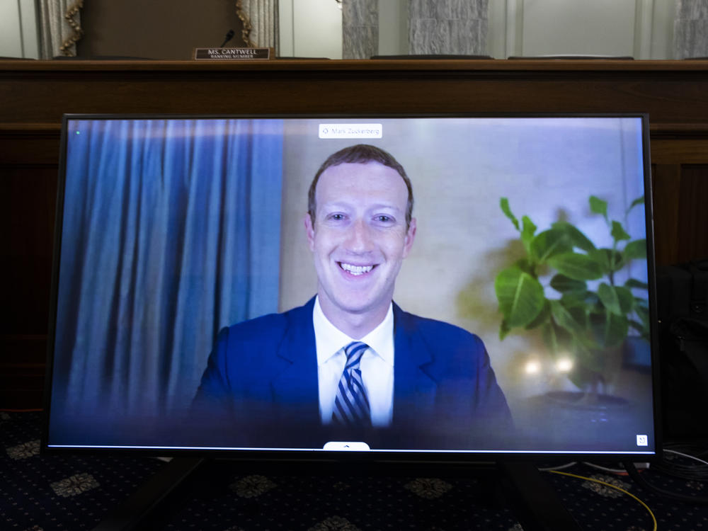 Facebook CEO Mark Zuckerberg testifies remotely during a Senate Commerce, Science, and Transportation Committee hearing on October 28, 2020.