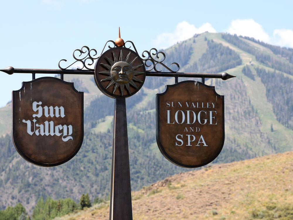 A sign is seen at the entrance to the Sun Valley Resort ahead of the Sun Valley conference organized by Allen & Co. in Sun Valley, Idaho, on July 5.