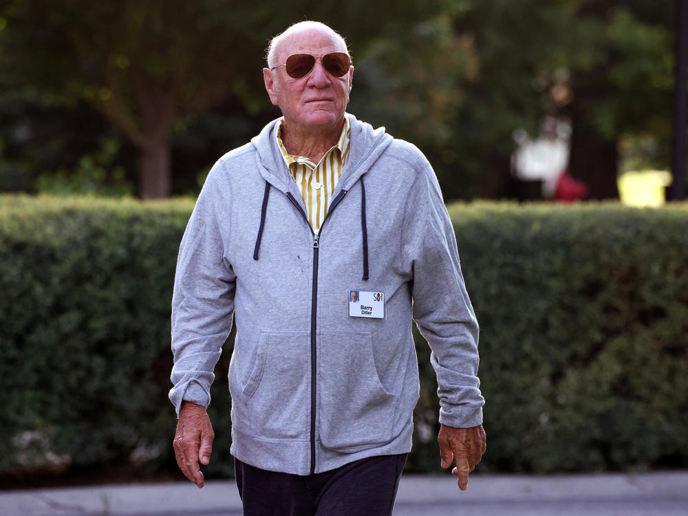 IAC Chairman Barry Diller walks to a morning session at the Allen & Company Sun Valley Conference on Wednedsday in Sun Valley, Idaho.