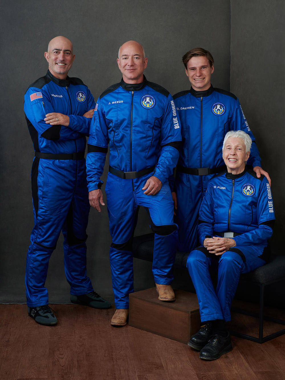 The crew riding with Jeff Bezos included his brother Mark (left), 18-year-old physics student Oliver Daemen and 82-year-old pioneering female aviator Wally Funk.