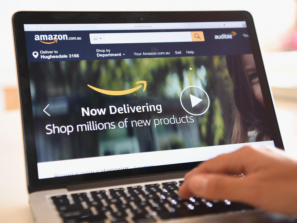 The Amazon website is seen in 2017 in Dandenong, Australia. Amazon was among dozens of sites hit by a massive internet outage on Thursday.
