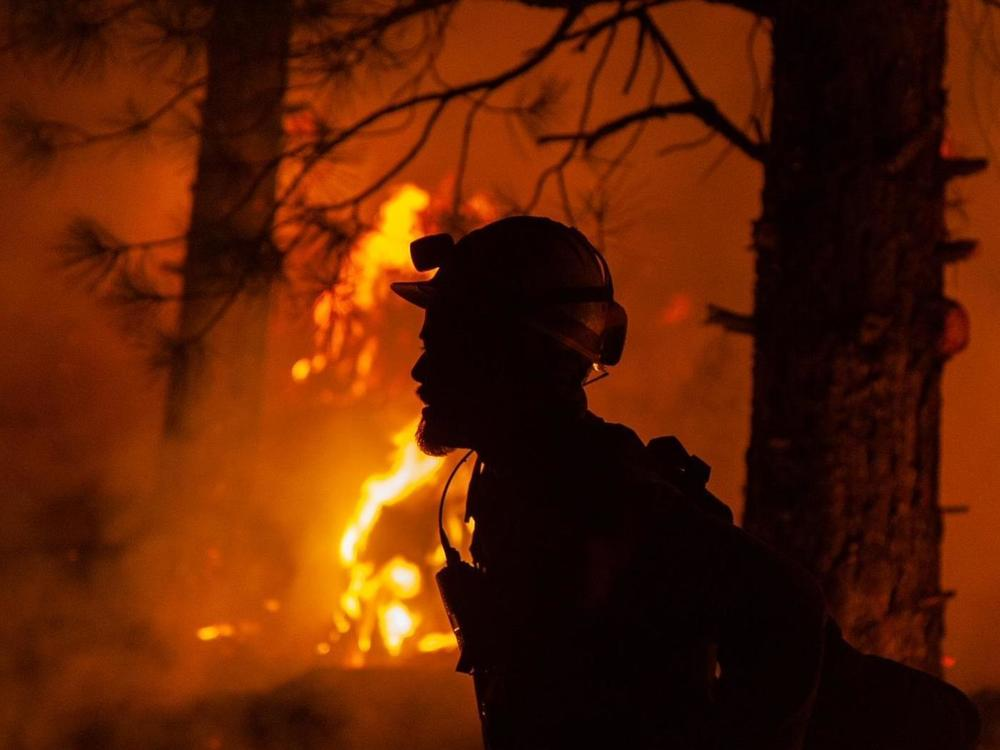 A firefighter during night operations recently on the Bootleg fire in southern Oregon.