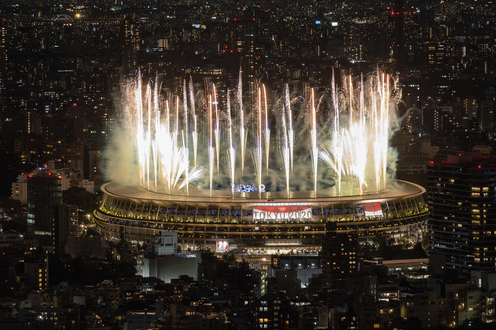 Fireworks go off during the opening ceremony on Friday.