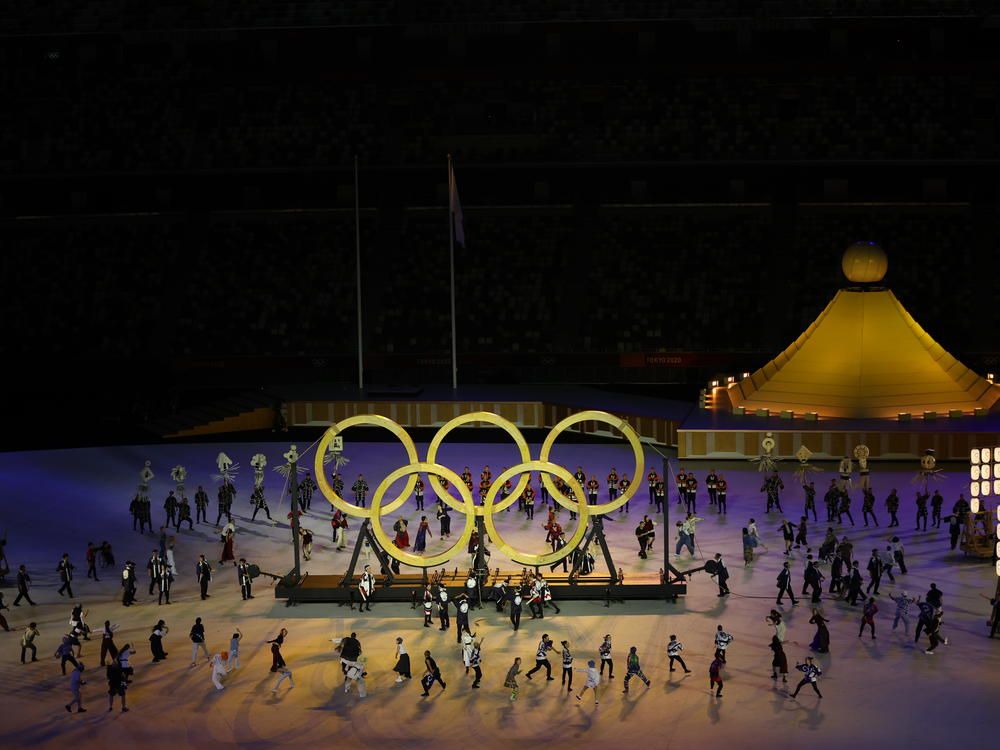 The Olympic Rings are included at the opening ceremony of the Tokyo 2020 Olympic Games on Friday.