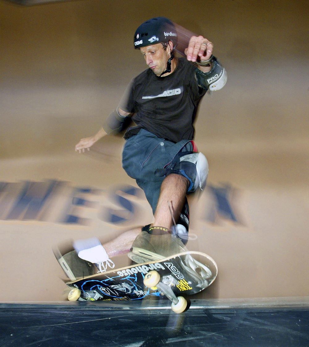 Tony Hawk, shown here during a competition in 2003, helped popularize the sport of skateboarding.