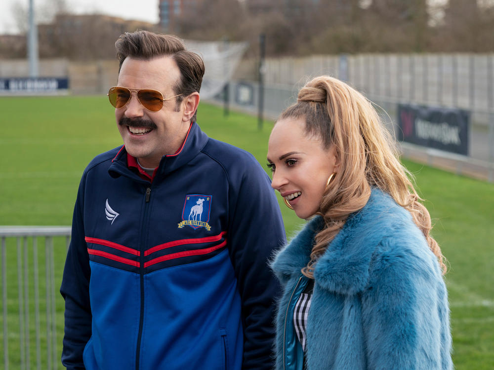 Jason Sudeikis and Juno Temple as Ted and Keeley in <em>Ted Lasso</em>.