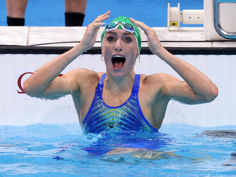 Tatjana Schoenmaker of Team South Africa reacts after winning the gold medal and breaking the world record in the women's 200-meter breaststroke final on Friday. It's South Africa's first gold medal of the Tokyo Olympics.