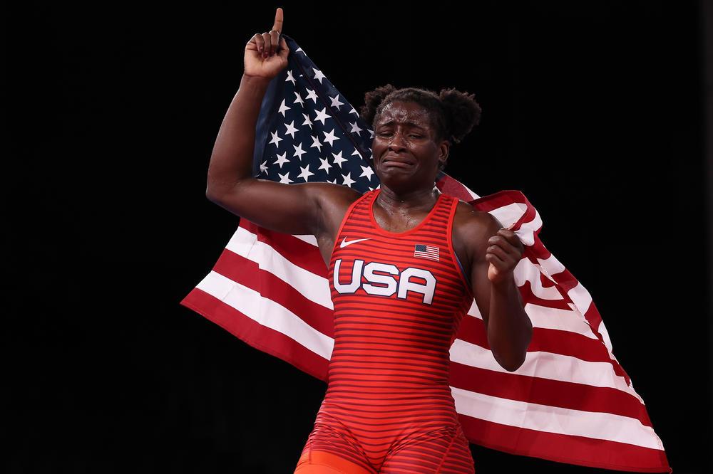 U.S. wrestler Tamyra Mensah-Stock celebrates after winning the women's freestyle 68-kilogram final at the Tokyo Olympics.