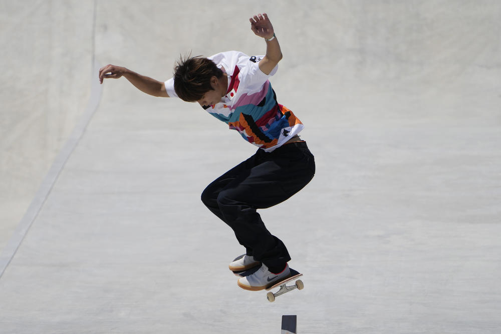 Yuto Horigome of Japan competes in the men's street skateboarding finals July 25.