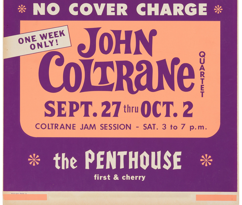 A poster advertising Coltrane's run of performances during which <em>A Love Supreme: Live in Seattle</em> was recorded.