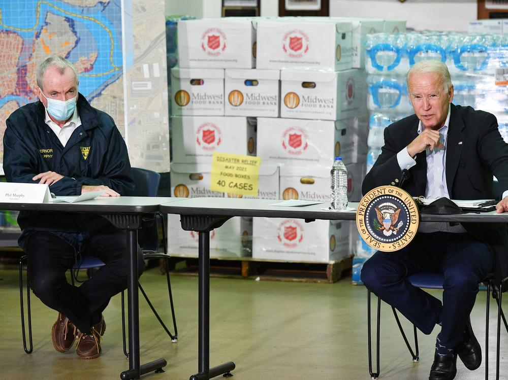 President Biden takes part in a briefing Tuesday with New Jersey Gov. Phil Murphy and other local leaders in the aftermath of Hurricane Ida.