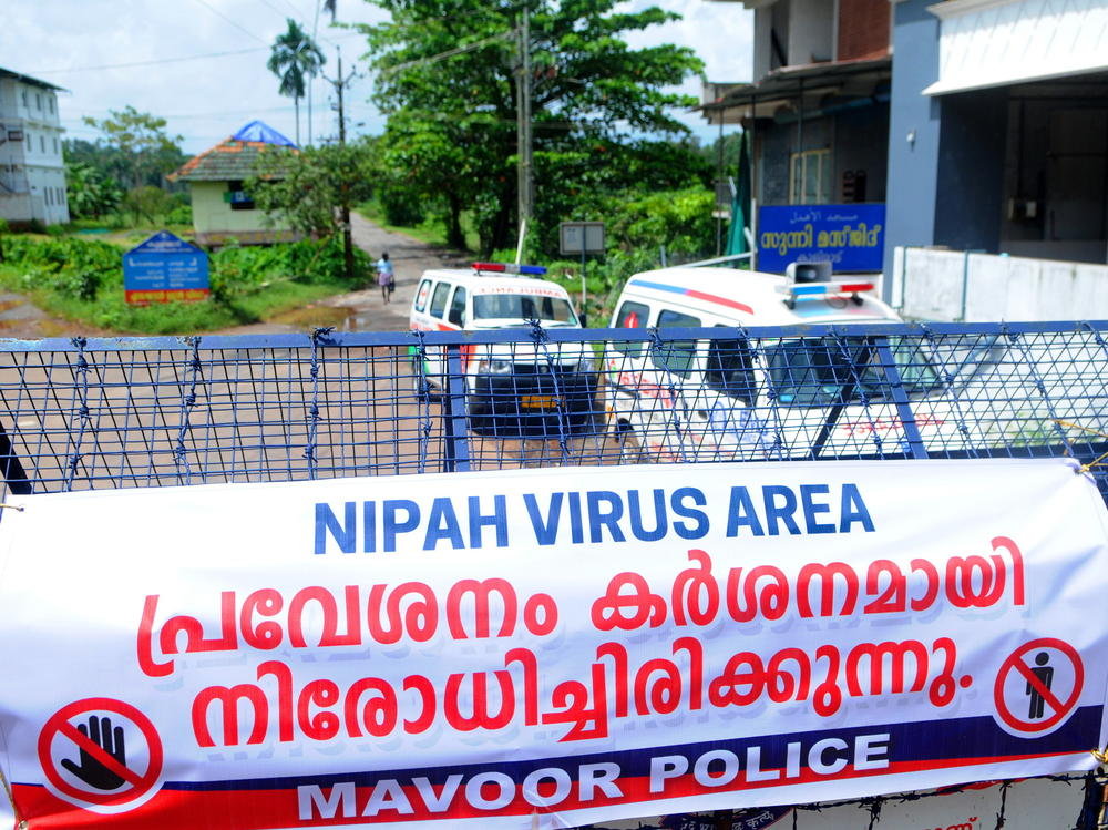 A road blockade set up during the Nipah virus outbreak in India this month.